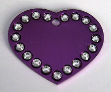 Heart with Swarovski charms pet ID Tag, dogs/cats ID tags free custom engraving