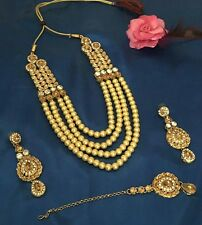 New Indian Bollywood custume Jewellery Necklace Set Bronze Gold Stone Pearl