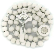 St. Benedict Catholic Hand Made Wood Rosary White Beads From Bethlehem Holy LAND