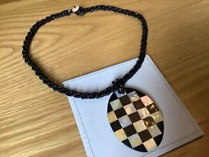 Vintage Black Glass Beaded Mother of Pearl large Chequered Pendant Necklace