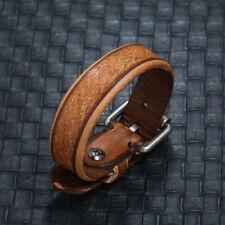 Mens Women Brown Handmade Braided Leather Bracelet Wristband Cuff Bangle Jewelry