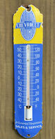 VINTAGE CHEVROLET PORCELAIN THERMOMETER METAL SIGN CHEVY OIL GAS PUMP PETROLIANA