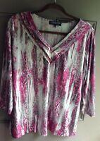 Jones New York Women's Top Size 1X Knit Shirt Blouse 3/4 Sleeve 93% Polyester