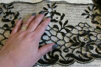 Stunning Length Whisper Fine Antique French Silk Black Lace Trim c1910 5FT 9""