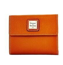 NWT Dooney & Bourke Pebble Grain Small Flap Wallet Caramel.