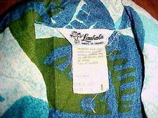 Lauhala Blue Green Palm Trees Full Zipper 60s Heavy Cotton Hawaiian Shirt M