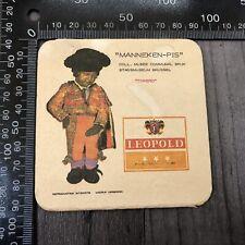 AUTHENTIC VINTAGE CARDBOARD BEER MAT COASTER MANNEKEN-PIS LEOPOLD TORERO