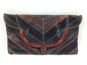 Snakeskin Envelope Purse Vintage Bags By Varon Dark Brown Shades w/ Chain Strap