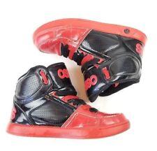 Osiris Boys Red Black High Top Crooklyn Skater Shoes Size 5m hip hop dual laces