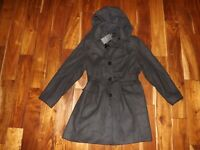 London Fog Womens Charcoal Gray Belted Peacoat Coat Jacket NWT Size S Small