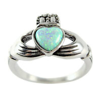 White Opal Claddagh Ring Size 5 6 7 8 9 10 11 Hypoallergenic Stainless Steel