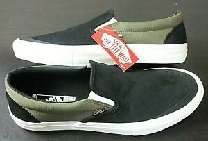 Vans Men's Slip On Pro Surplus Black Military Green Suede Nylon shoes Size 11.5