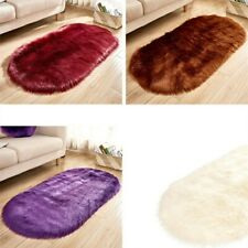A0 Faux Fur Fluffy Shaggy Solid Area Rug Balcony Oval Floor Carpet Bedroom Decor