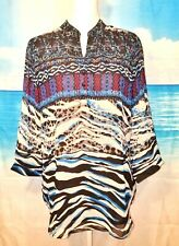 Woman's MANDARIN COLLAR TUNIC Shirt LINED Career Casual COLORFUL top size Med