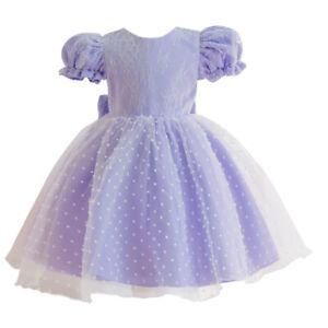 Toddler Baby Kids Puff Sleeve Tutu Dress Flower Girls Bridesmaid Birthday Gown