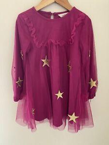 Matilda Jane TWINKLING STARS Dress Size 4 Pink Tulle Gold Holiday Girls