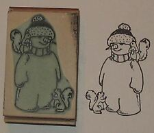 Snowman & 2 Squirrels rubber stamp by Amazing Arts cute