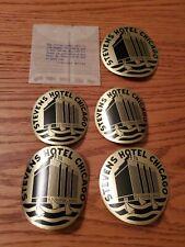 5 VTG 1930s Stevens Hotel Chicago Black Gold Luggage Baggage Labels Stickers