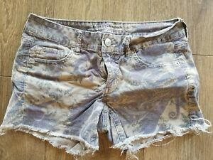 American Eagle Paisley Cutoff Purple Women's Shorts Size 8 cute boho AE stylish