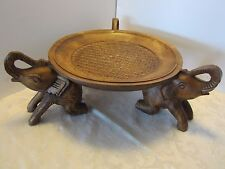 """WOOD HAND CARVED 3 ELEPHANT STAND 18x7"""" CENTERPIECE STAND BOWL TRAY FRUIT"""