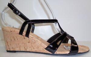 Vaneli Size 11 M MATTY Black Patent Leather Wedge Heels Sandals New Womens Shoes