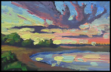 HAWKINS Impressionism  Lake  Clouds  Colorful Original Study  Oil  Painting  Art