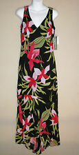 Maggy London Sz 4 Black Floral Maxi Dress Hi-Low Hem Sheer Lined Sleeveless NWT