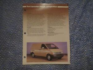 1986 FORD AEROSTAR VAN VS COMPETITION DEALER ALBUM COMPARISON BROCHURE
