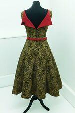 Bettie Page 50s style leopard print full skirt dress beige M(12/14) button back