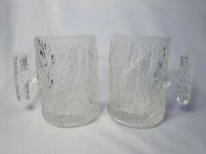 Pair Of Vintage Crystal Ice / Bark textured Glass Beer Mugs, Scandinavian?