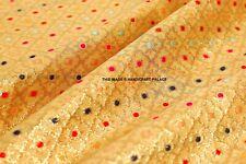 Indian Dress Costume Jacquard Damask Gold Silk Brocade Upholstery Fabric By Yard