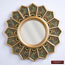 "Peru Handmade Painted Glass Decorative Round Wood Wall Mirror, ""Green Sunflower"""