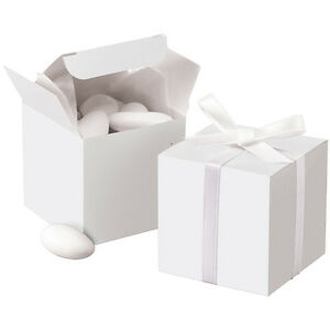"White Wedding Gift Box Favor Candy Bridal Shower Favour Present 24pk  2"" x 2"""