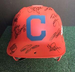 2017 CLEVELAND INDIANS Team Signed Custom Batting Helmet Kluber KIPNIS Coa