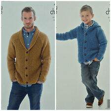 KNITTING PATTERN Mens/Boys Roll Collar or Hooded Cardigan Chunky King Cole 4088