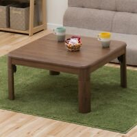 kotatsu table folding legs top 75 x 75 cm square natural 2 type Brown
