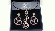 Antique Vintage Swarovski Crystal Earrings & Silver Paste Necklace with box/cert