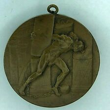 1920's Bronze Samson In The Temple medal Religious or Strongman sports 50 mm