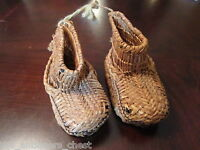 Antique 1800s rice straw child shoes original hand made[japbx]