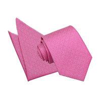 DQT Woven Greek Key Patterned Fuchsia Pink Mens Classic Tie Hanky Wedding Set