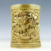 Chinese brass hand-carved fine Dragon Pen container statue