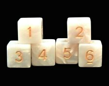 New Set of 6 Numbered D6 Six Sided Standard 16mm Dice - White Marble
