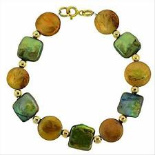 """18K Gold over Silver Brown & Green Freshwater Cultured Coin Pearls Bracelet, 7"""""""