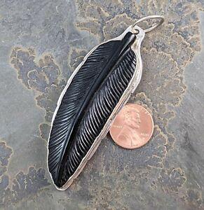 DAN DODSON Southwestern Handmade Sterling Silver Carved Onyx Feather Pendant