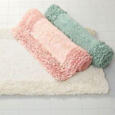 "White Ivory  21""x34"" Cotton Bath Mat Rug ruffled edge"