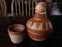 Vintage Pottery Tumble Up Night Time Carafe Cup Hand Painted Mexico ?