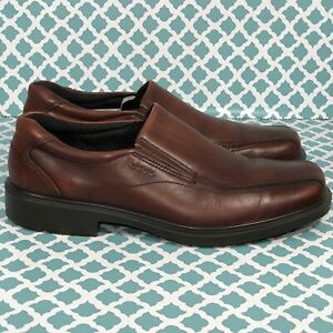 ECCO Mens Dress Shoes Comfort Slip On Leather Brown Size 44 US 10