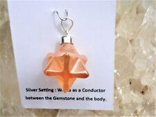 Merkaba Tangerine Aura Quartz-Star Of David-DoubleTetrahedron Pendant -Magical