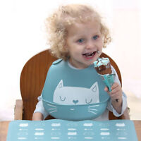 Cartoon Baby Bibs Boy Girls Silicone Waterproof Adjust Feeding Bib Food Catcher