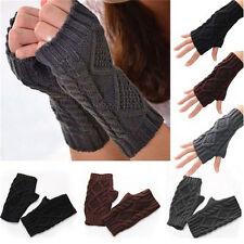 Unisex Men Women Arm Warmer Fingerless Knitted Long Gloves Cute Mittens Fashion
